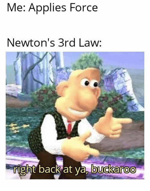 Back, Law, and Force: Me: Applies Force  Newton's 3rd Law:  right back at ya, buckaroo