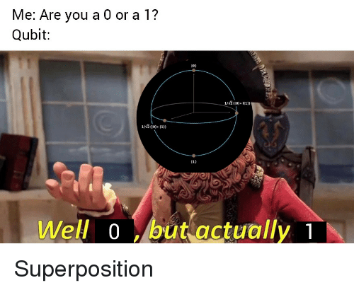 You, Qubit, and Well: Me: Are you a 0 or a 1?  Qubit:  10)  1e)11))  Well o but actually Superposition
