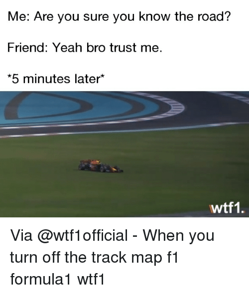 Memes, Yeah, and F1: Me: Are you sure you know the road?  Friend: Yeah bro trust me.  5 minutes later  wtf1. Via @wtf1official - When you turn off the track map f1 formula1 wtf1