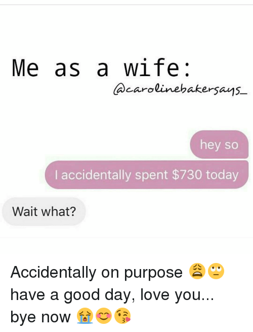 Memes, 🤖, and Baker: Me as a wife  caroline baker says  hey so  I accidentally spent $730 today  Wait what? Accidentally on purpose 😩🙄 have a good day, love you... bye now 😭😊😘