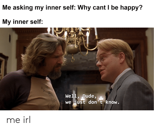 Dude, Happy, and Irl: Me asking my inner self: Why cant I be happy?  My inner self:  Well, Dude,  we just don't know. me irl