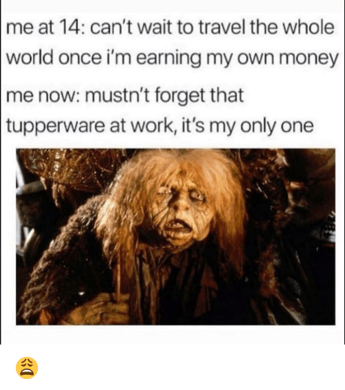 Funny, Money, and Work: me at 14: can't wait to travel the whole  world once i'm earning my own money  me now: mustn't forget that  tupperware at work, it's my only one 😩