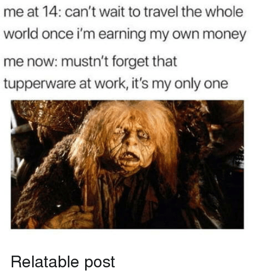 Money, Work, and Travel: me at 14: can't wait to travel the whole  world once i'm earning my own money  me now: mustn't forget that  tupperware at work, it's my only one  牽; Relatable post