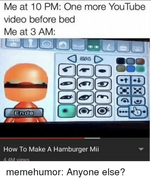 Tumblr, youtube.com, and Blog: Me at 1O PM: One more YouTube  video before bed  Me at 3 AM:  Ende  How To Make A Hamburger Mii  4.4M views memehumor:  Anyone else?