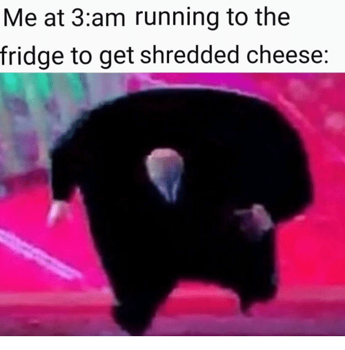 Me at 3am Running to the Fridge to Get Shredded Cheese