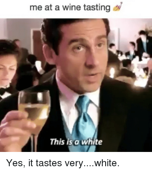 Wine, White, and Girl Memes: me at a wine tasting  This is a white Yes, it tastes very....white.