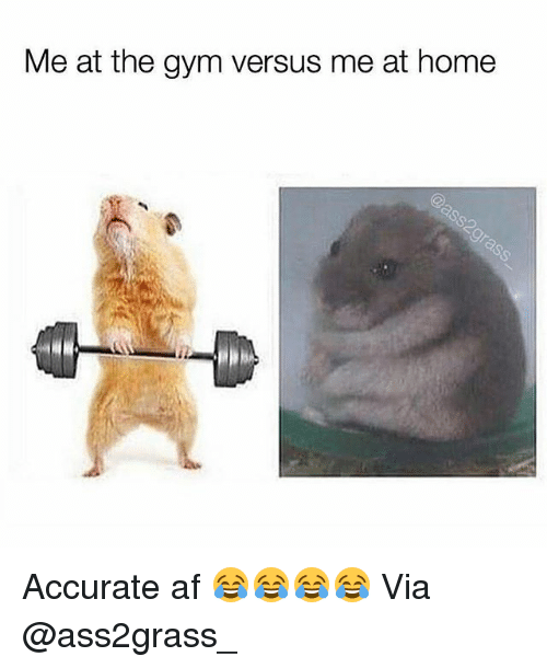 Af, Gym, and Home: Me at the gym versus me at home Accurate af 😂😂😂😂 Via @ass2grass_