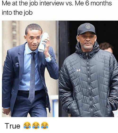 Funny, Job Interview, and True: Me at the job interview vs. Me 6 months  into the job True 😂😂😂