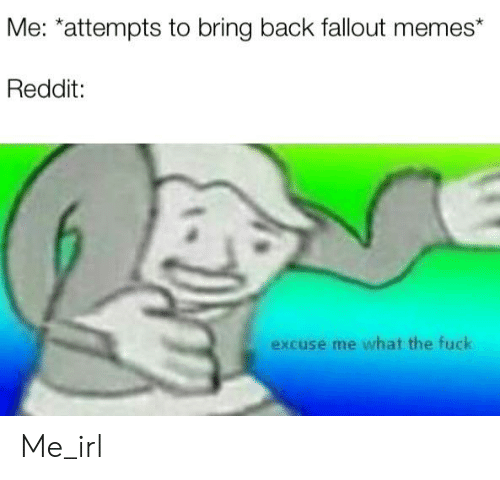 Me *Attempts to Bring Back Fallout Memes* Reddit Excuse Me