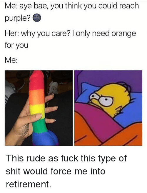 Bae, Memes, and Rude: Me: aye bae, you think you could reach  purple?  Her: why you care? l only need orange  for you  Me: This rude as fuck this type of shit would force me into retirement.