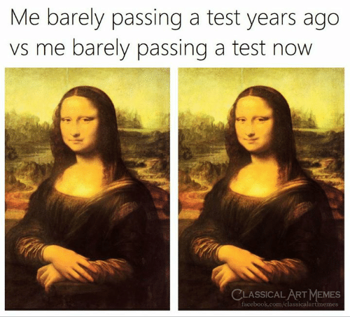 Facebook, Memes, and facebook.com: Me barely passing a test years ago  vs me barely passing a test now  CLASSICALART MEMES  facebook.com/classicalartmemes