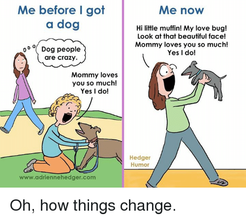 Beautiful, Crazy, and Dogs: Me before I got  a dog  o D o Dog people  are crazy.  Mommy loves  you so much!  Yes I do!  www.adriennehedger.com  Me now  Hi little muffin! My love bug!  Look at that beautiful face!  Mommy loves you so much!  Yes I do!  Hedger  Humor Oh, how things change.