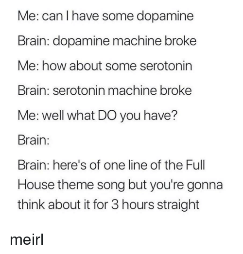 Brain, Full House, and House: Me: can I have some dopamine  Brain: dopamine machine broke  Me: how about some serotonin  Brain: serotonin machine broke  Me: well what DO you have?  Brain:  Brain: here's of one line of the Full  House theme song but you're gonna  think about it for 3 hours straight meirl