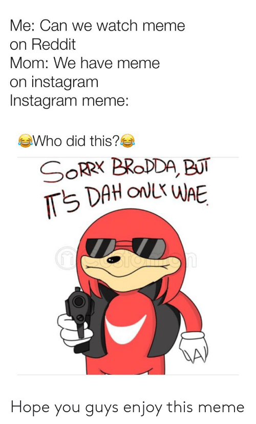 Instagram, Meme, and Reddit: Me: Can we watch meme  on Reddit  Mom: We have meme  on instagram  Instagram meme  Who did this?-  1 Hope you guys enjoy this meme
