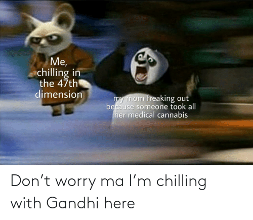 Cannabis, Mom, and Her: Me,  chilling in  the 47th  dimension  my mom freaking out  because someone took all  her medical cannabis  uldankdormamu Don't worry ma I'm chilling with Gandhi here