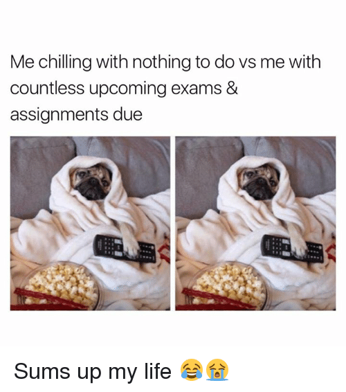 Life, Nothing, and Chilling: Me chilling with nothing to dovs me with  countless upcoming exams &  assignments due Sums up my life 😂😭