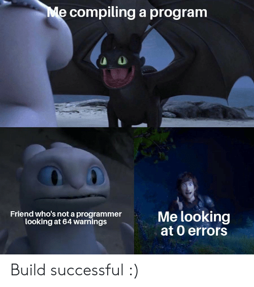 Looking, Friend, and Program: Me compilinga program  Me looking  at 0 errors  Friend who's not a programmer  looking at 64 warnings Build successful :)