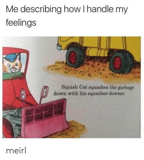 MeIRL, How, and Cat: Me describing how I handle my  feelings  Squish Cat squashes the garbage  down with his squasher-downer meirl