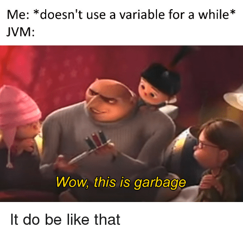 """Be Like, Wow, and Garbage: Me: """"doesn't use a variable for a while*.  JVM:  Wow, this is garbage It do be like that"""
