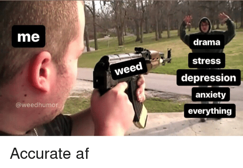 Af, Weed, and Anxiety: me  drama  stress  depression  anxiety  everything  weed  @weedhumor Accurate af