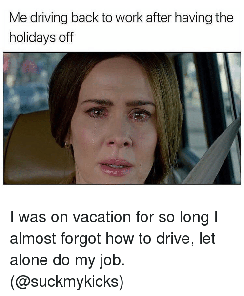 Being Alone, Driving, and Memes: Me driving back to work after having the  holidays off I was on vacation for so long I almost forgot how to drive, let alone do my job. (@suckmykicks)