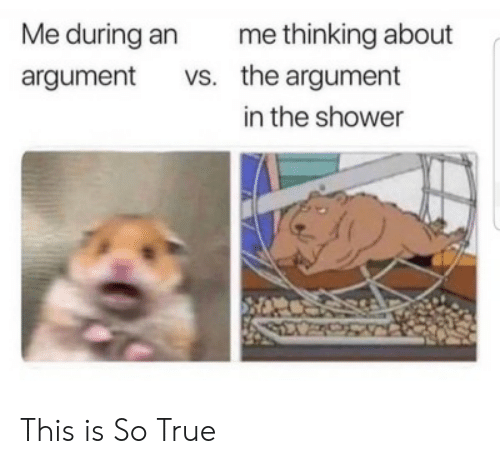 Shower, True, and Tumblr: Me during an  argument vs.  me thinking about  the argument  in the shower This is So True