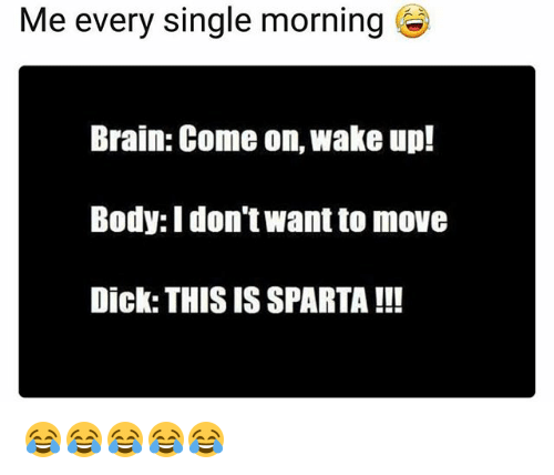 Funny, Brain, and Dick: Me every single morning  Brain: Come on, wake up!  Body: I don't want to move  Dick: THIS IS SPARTA !!! 😂😂😂😂😂