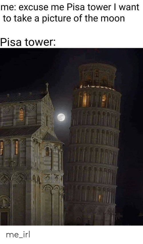 Irl, Me IRL, and A Picture: me: excuse me Pisa tower I want  to take a picture of the moor  Pisa tower: me_irl