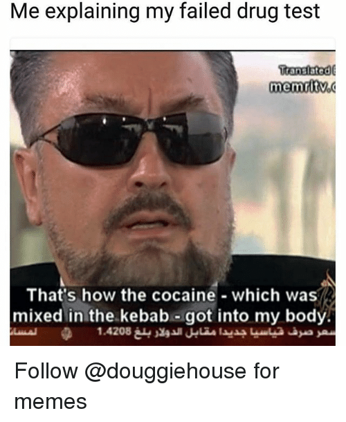 Memes, Cocaine, and Test: Me explaining my failed drug test  Itanslated  That's how the cocaine which was  mixed in the.kebab-got into my bodý. Follow @douggiehouse for memes
