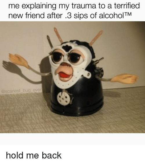 Memes, Alcohol, and Alcoholic: me explaining my trauma to a terrified  TM  new friend after .3 sips of alcohol  @scariest bug ever hold me back