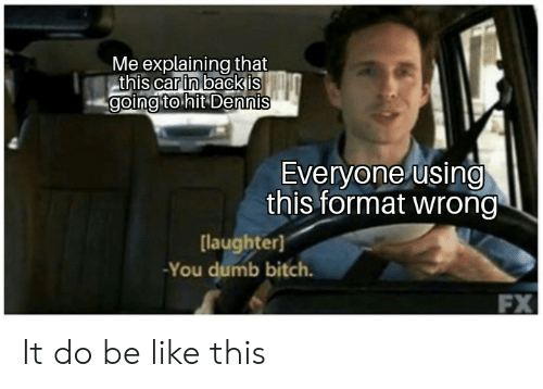 Be Like, Bitch, and Dumb: Me explaining that  this carin backis  goingto hit Dennis  Everyone using  this format wrong  laughter)  -You dumb bitch. It do be like this