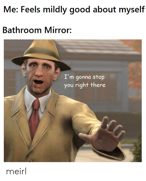 Good, Mirror, and MeIRL: Me: Feels mildly good about myself  Bathroom Mirror:  I'm gonna stop  you right there meirl
