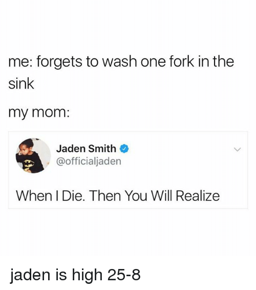 Jaden Smith, Jaden, and Mom: me: forgets to wash one fork in the  sink  my mom:  Jaden Smith  , @officialjaden  When I Die. Then You Will Realize jaden is high 25-8