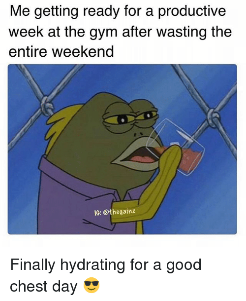 Gym, Memes, and Good: Me getting ready for a productive  week at the gym after wasting the  entire weekend  IG: Othegainz Finally hydrating for a good chest day 😎