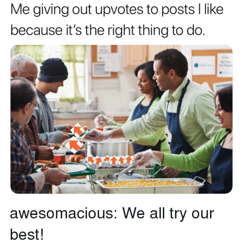 Tumblr, Best, and Blog: Me giving out upvotes to posts I like  because it's the right thing to do. awesomacious:  We all try our best!
