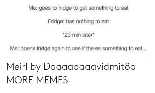 Dank, Memes, and Target: Me: goes to fridge to get something to eat  Fridge: has nothing to eat  *20 min later  Me: opens fridge again to  see if theres something to eat... Meirl by Daaaaaaaavidmit8a MORE MEMES