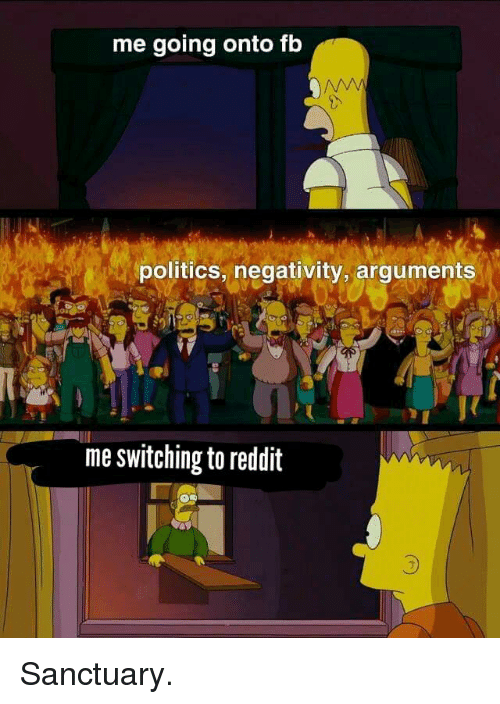 Politics, Reddit, and Sanctuary: me going onto fb  politics, negativity,arguments  me switching to reddit  3 Sanctuary.