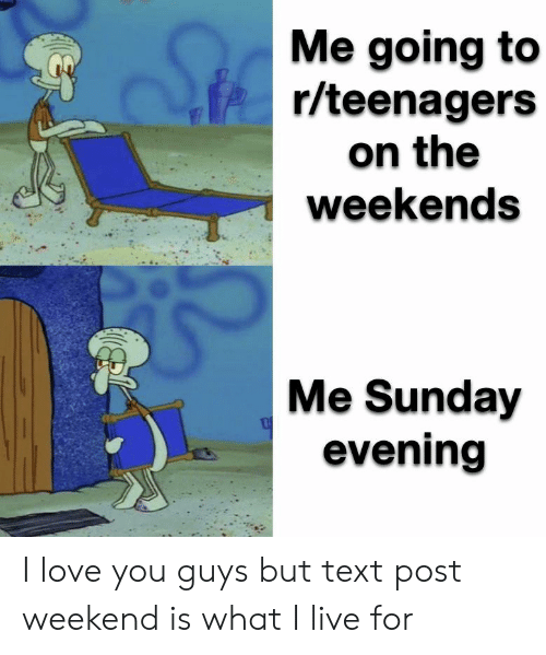 Love, I Love You, and Live: Me going to  r/teenagers  on the  weekends  Me Sunday  evening I love you guys but text post weekend is what I live for