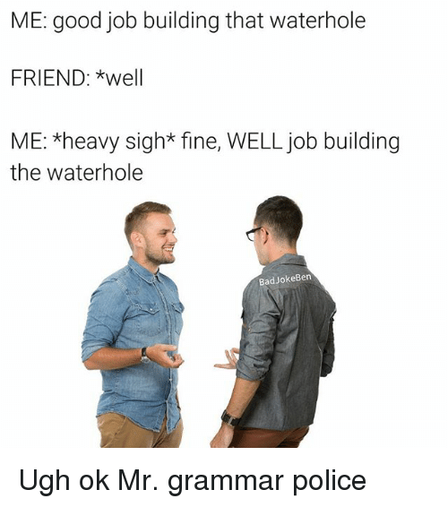 Bad, Memes, and Police: ME: good job building that waterhole  FRIEND: *well  ME: *heavy sigh* fine, WELL job building  the waterhole  Bad JokeBen Ugh ok Mr. grammar police