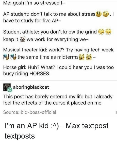 Horses, Huh, and Life: Me: gosh I'm so stressed I  AP student don't talk to me about stress囧() . I  have to study for five AP  Student athlete: you don't know the grind ( )  keep it we work for everything we-  Musical theater kid: work?? Try having tech week  HJHJ the same time as midterms  Horse girl: Huh? What? I could hear you I was too  busy riding HORSES  aboringblackcat  This post has barely entered my life but I already  feel the effects of the curse it placed on me  Source: bia-boss-official I'm an AP kid :^) - Max textpost textposts