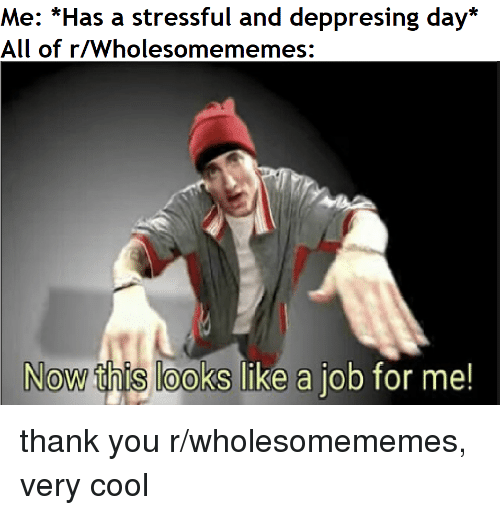 Thank You, Cool, and Job: Me: *Has a stressful and deppresing day*  All of r/Wholesomememes:  Now this looks like a job for me thank you r/wholesomememes, very cool
