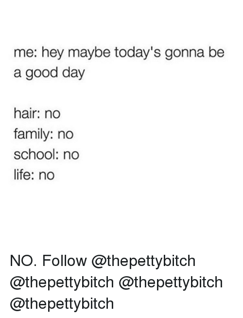 Family, Life, and Memes: me: hey maybe today's gonna be  a good day  hair: no  family: no  school: no  life: no NO. Follow @thepettybitch @thepettybitch @thepettybitch @thepettybitch