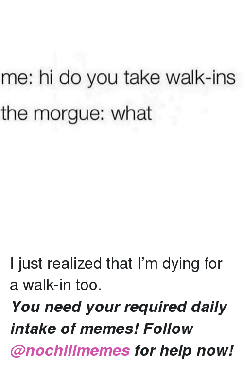 Memes, Help, and You: me: hi do you take walk-ins  the morgue: what <p>I just realized that I'm dying for a walk-in too.</p>  <p><b><i>You need your required daily intake of memes! Follow <a>@nochillmemes</a>​ for help now!</i></b></p>