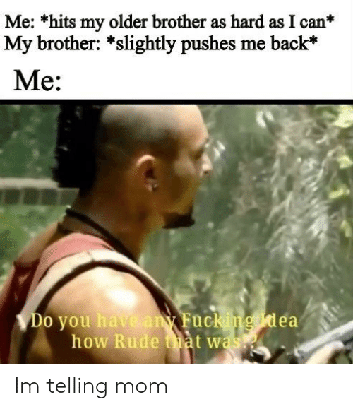 Me *Hits My Older Brother as Hard as I Can My Brother