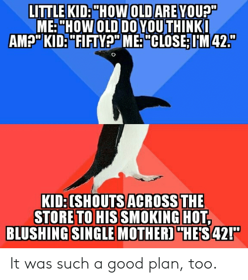 "Good, Old, and Single: ME:""HOW OLD DO YOUTHINK  AMp"" KID:""FIFTYP"" ME: ""CLOSE:IM42.  KID:[SHOUTS ACROSS THE  STORE TO HIS SMOKIN GHOE  BLUSHING  SINGLE MOTHER)""HES42!"" It was such a good plan, too."