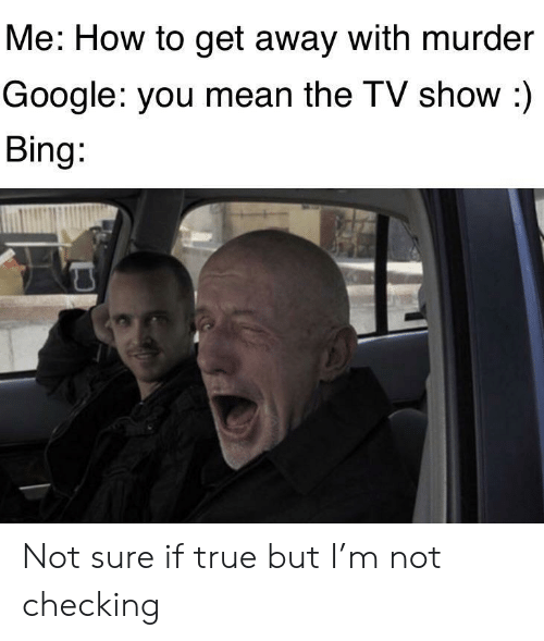 Google, True, and Bing: Me: How to get away with murder  Google: you mean the TV show :)  Bing: Not sure if true but I'm not checking