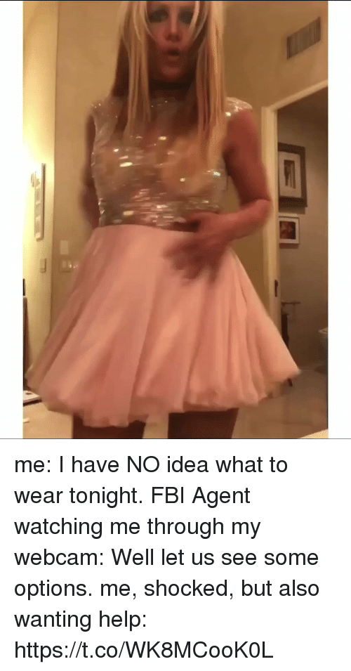 Fbi, Help, and Girl Memes: me: I have NO idea what to wear tonight.  FBI Agent watching me through my webcam: Well let us see some options.  me, shocked, but also wanting help: https://t.co/WK8MCooK0L