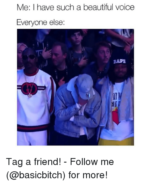 Beautiful, Voice, and Girl Memes: Me: I have such a beautiful voice  Everyone else:  EAPE Tag a friend! - Follow me (@basicbitch) for more!