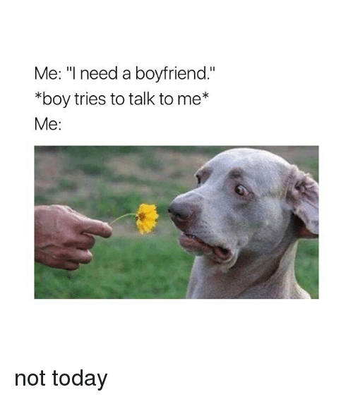 """Today, Girl Memes, and Boyfriend: Me: """"I need a boyfriend.""""  *boy tries to talk to me*  Me: not today"""