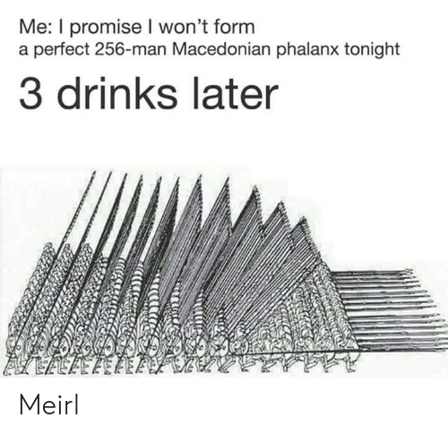 Macedonian, MeIRL, and Man: Me: I promise I won't form  a perfect 256-man Macedonian phalanx tonight  3 drinks later Meirl